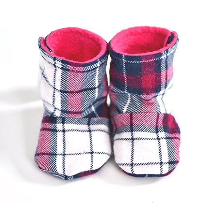 Pink/Navy Plaid Menta Boots 3-6m