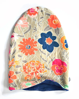 Navy & Coral Floral Slouchy Beanie 12-18m