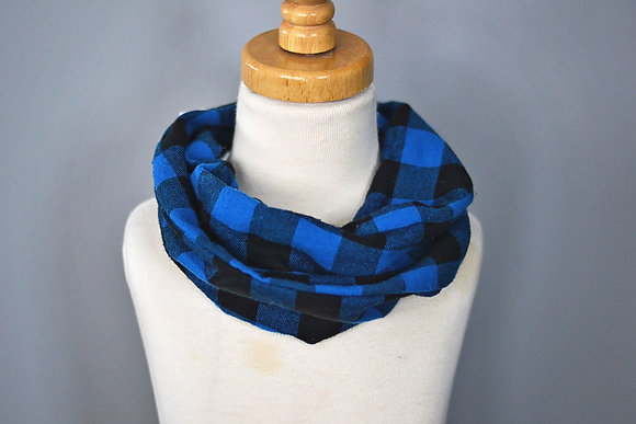 Blue/Black Plaid Infinity Scarf