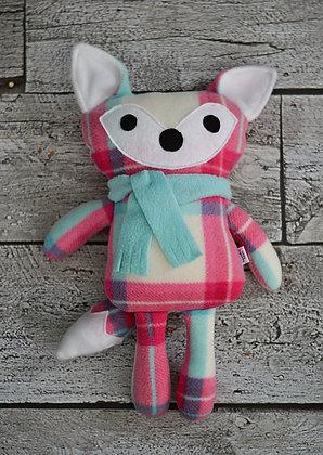 Pink Plaid/Aqua Fox Plushie