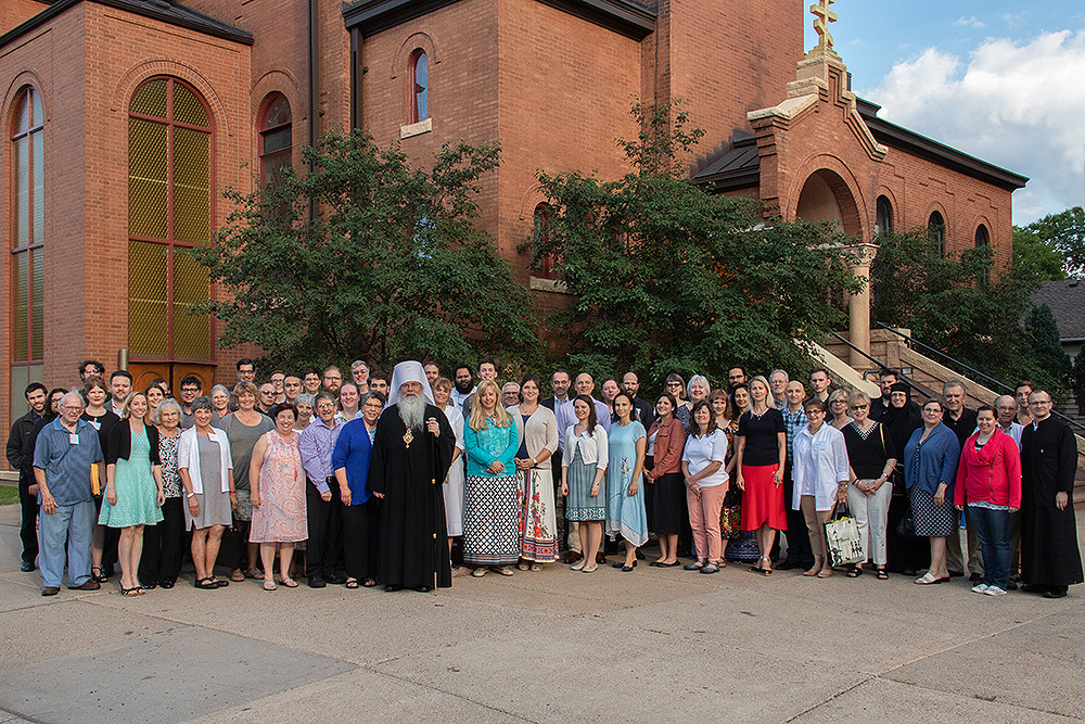 Participants of the 2018 Pan-Orthodox Music Symposium with Metropolitan Tikhon, outside the historic St. Mary's Orthodox Cathedral, Minneapolis, MN