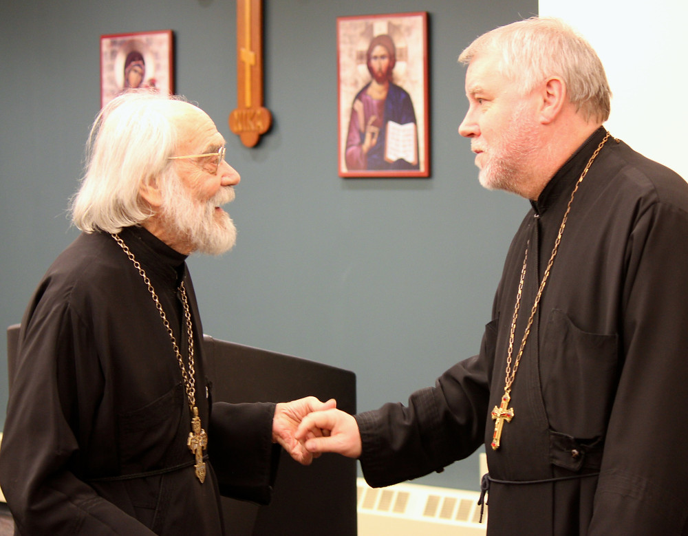 (from left) Renowned Orthodox composers Fr. Sergei Glagolev with Fr. Ivan Moody, on campus together, 2016. [photo: Mary Honore']