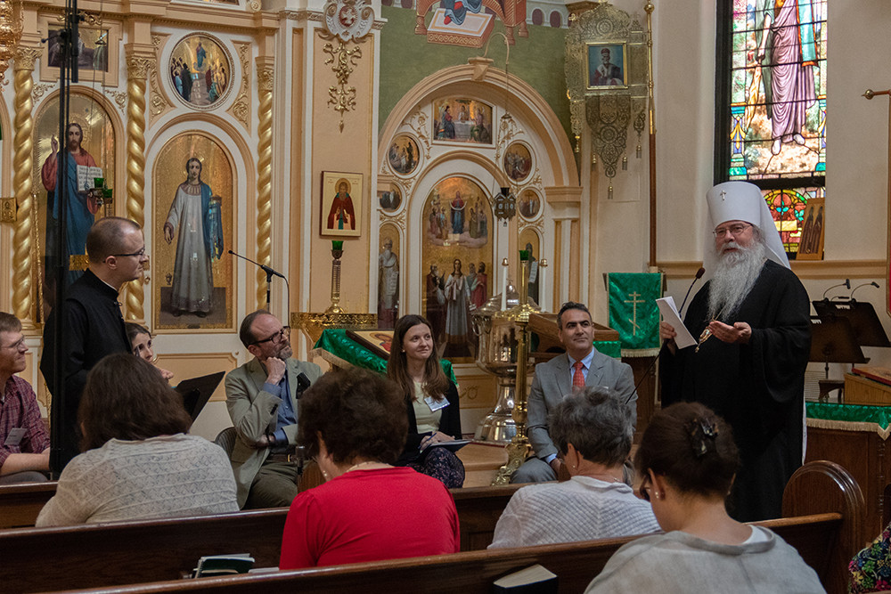 His Beatitude, Metropolitan Tikhon (OCA) and members of the panel discussion engage in dialogue about the merits of ancient and modern creativity in Orthodox hymnody.