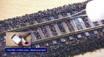 How to ballast a model rail track.