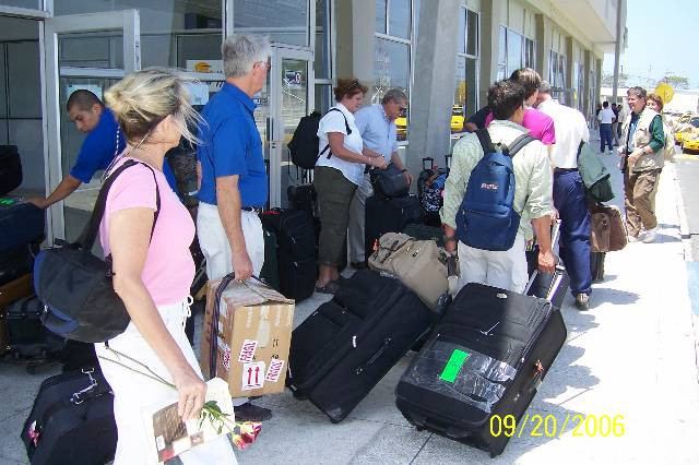 Medical and construction mission team arrive at Manta Airport en route to El Floron in 2006