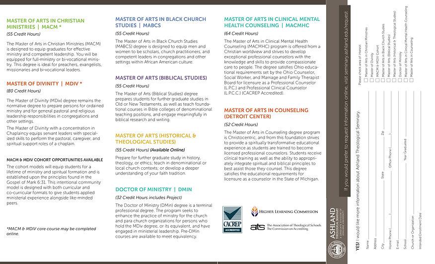 Ashland Theological Seminary Brochure Back