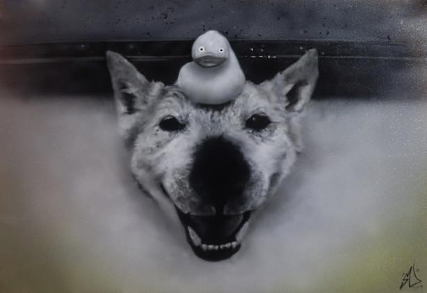 Airbrush Dog airbrushed