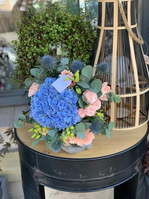 Bouquet pêche et bleu