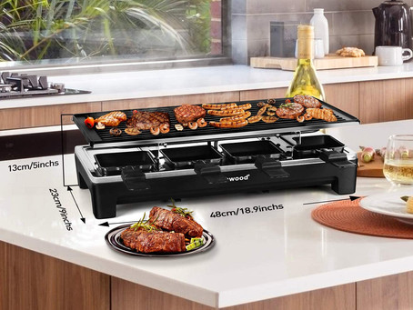 Techwood Raclette Grill Raclette Party Grill Electric BBQ Grill Indoor/Outdoor Grill