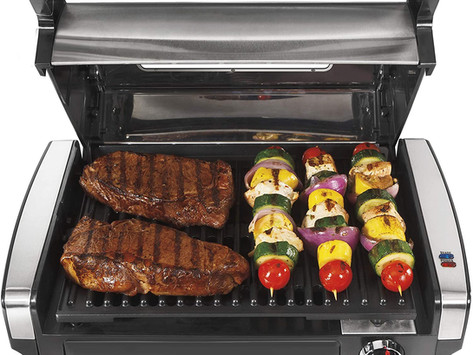 Hamilton Beach Electric Indoor Searing Grill with Viewing Window and Removable Easy-to-Clean Nonstic