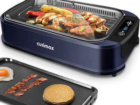 Indoor Grill Electric Grill Griddle CUSIMAX Smokeless Grill, Portable Korean BBQ Grill