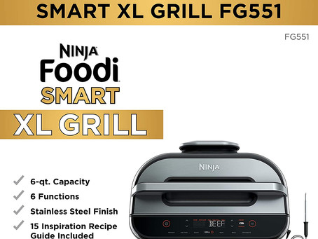 Ninja FG551 Foodi Smart XL 6-in-1 Indoor Grill with 4-Quart Air Fryer Roast Bake Dehydrate Broil
