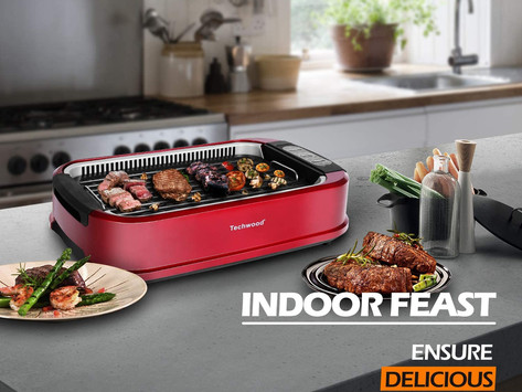 Indoor Grill Power Electric Grill, Techwood Indoor Smokeless BBQ Grill