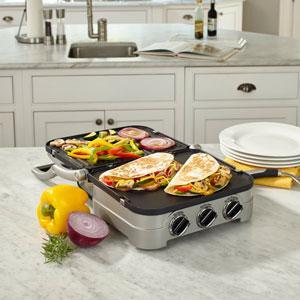 "Cuisinart GR-4NP1 5-in-1 Griddler, 13.5""(L) x 11.5""(W) x 7.12""(H), Silver"
