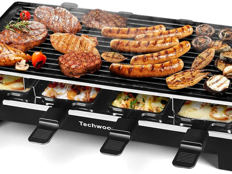 Techwood Raclette Grill Raclette Party Grill Electric BBQ Grill Indoor/Outdoor