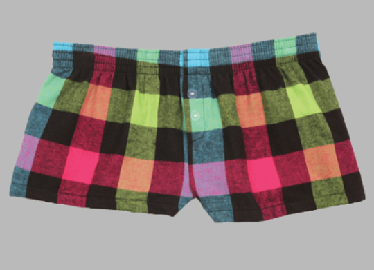 Neon Flannel Bitty Shorts