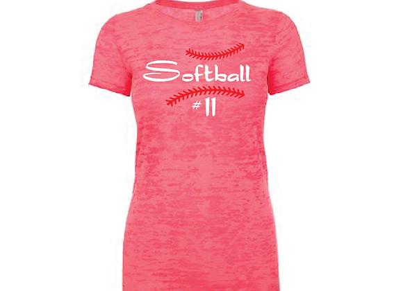 Softball with # Burnout TEE