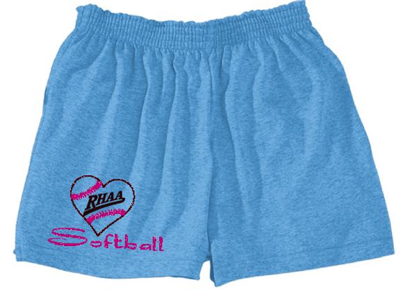 RHAA Love Softball Glitter Poly/Cotton Shorts