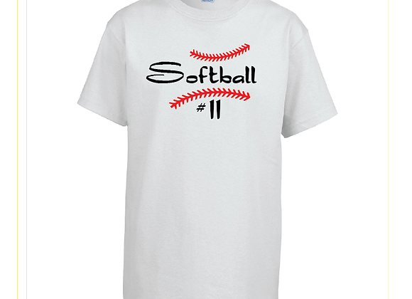 Softball with # Cotton Tee