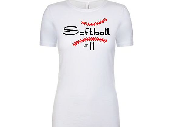 Softball with # Cotton/Poly TEE