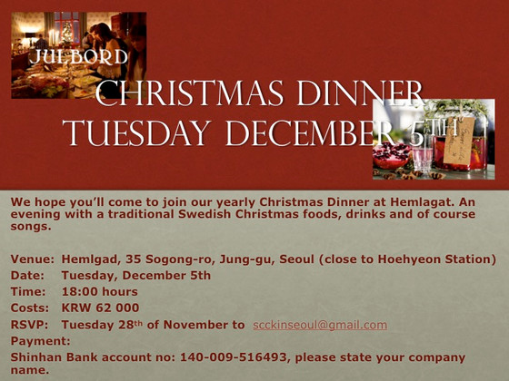 Christmas at Swedish Taverna in Seoul, 5th of December