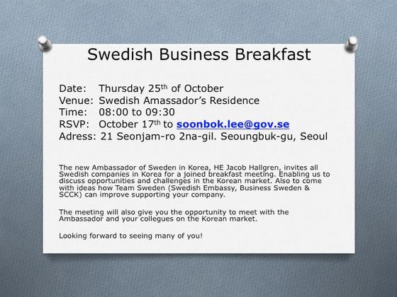 A SWEDISH BUSINESS BREAKFAST