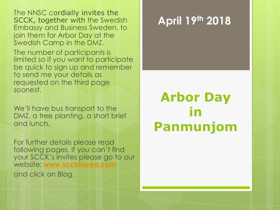 Join us for Arbor Day in the DMZ on the 19th of April.
