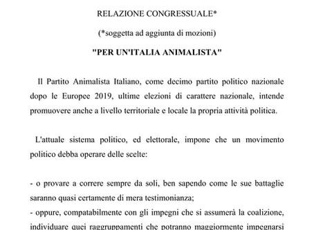 """CONGRESSO 2020 del Partito Animalista Italiano: """"RELAZIONE CONGRESSUALE"""""""