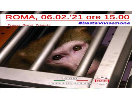 COMUNICATO STAMPA: Manifestazione contro la Vivisezione, Sabato 6 Febbraio in Piazza Monte Citorio