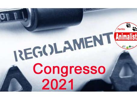 Regolamento al Congresso 2021 del Partito Animalista Italiano
