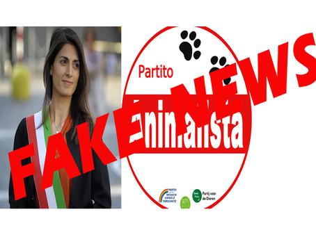 COMUNICATO STAMPA: Fake News della Raggi, non è vero che il Partito Animalista appoggia la sindaca
