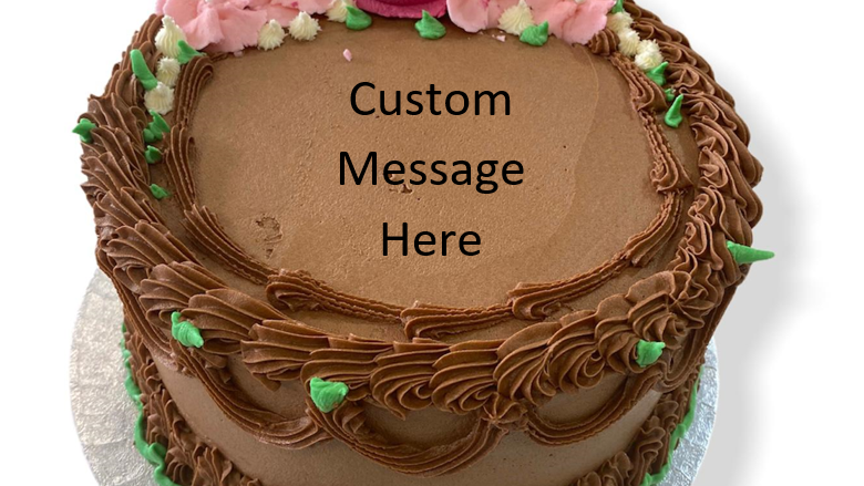 Chocolate Butter Cream Cake with Flower Design