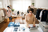 a-female-business-owner-is-using-the-lap