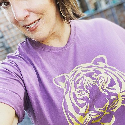 Golden Tiger on Purple