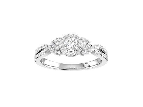 Petite Twisted Brilliant-Cut Diamond Ring - RP1356