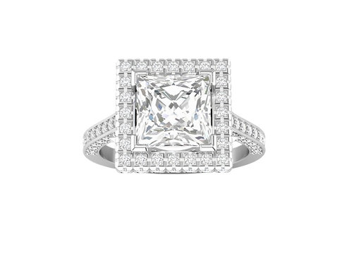 Halo Princess-Cut Diamond Ring - RP0082