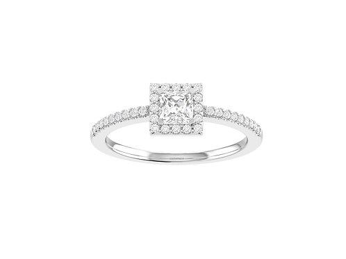 Petite Halo Princess Cut Diamond Ring - RP1338