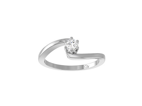 Petite Twisted Brilliant-Cut Diamond Ring - RP0157.01