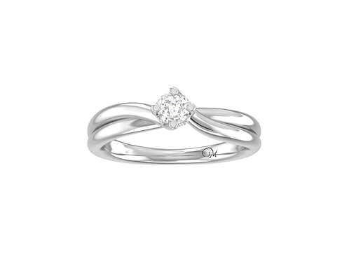 Petite Twisted Brilliant-Cut Diamond Ring - RR4048