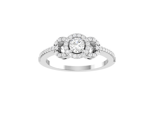 Petite Halo Brilliant-Cut Diamond Ring - RP1345