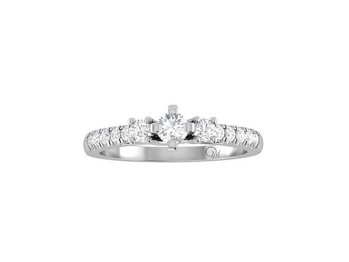 Petite Three Stone Brilliant-Cut Diamond Ring - RP2154