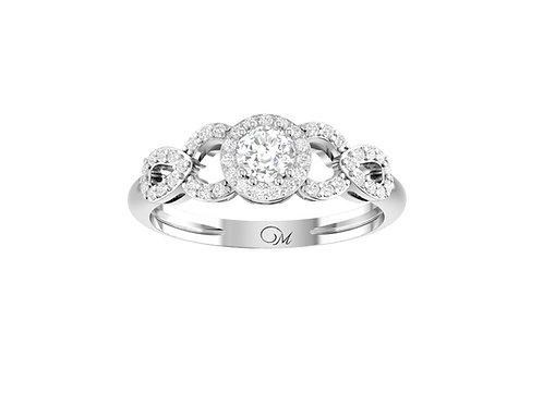 Petite Twisted Brilliant-Cut Diamond Ring - RP1360