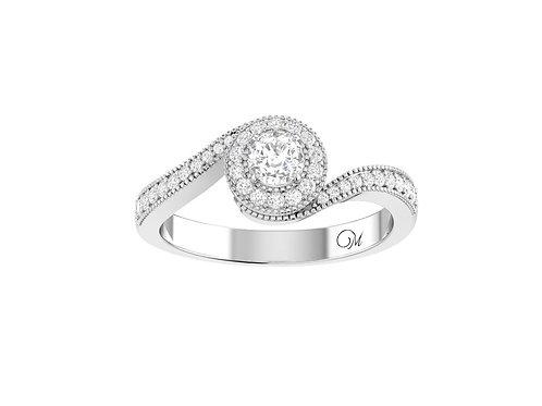 Petite Twisted Brilliant-Cut Diamond Ring - RP0196.01