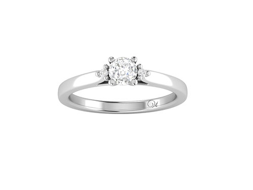 Petite Three Stone Brilliant-Cut Diamond Ring - RP2858.02