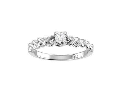 Petite Braided Brilliant-Cut Diamond Ring - RP4026
