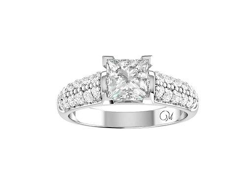 Princess-Cut Diamond Ring withPaved DiamondBand - RP1442