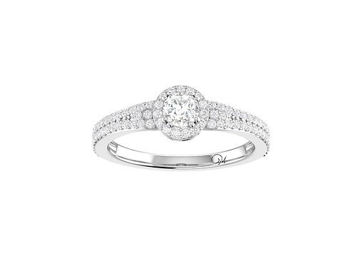 Petite Halo Brilliant-Cut Diamond Ring - RP1347