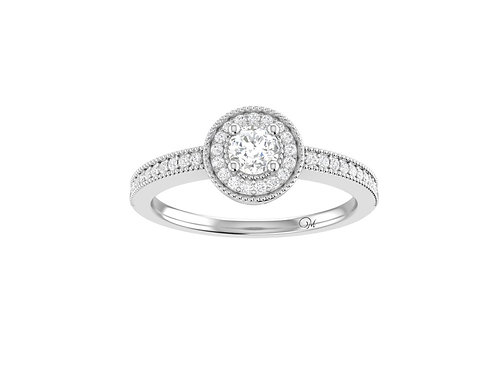 Petite Halo Brilliant-Cut Diamond Ring - RP1351
