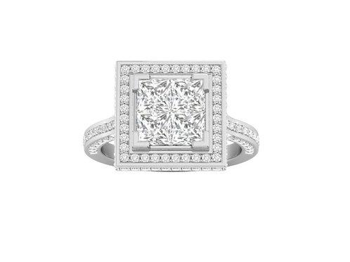 Halo Princess-Cut Diamond Ring - RP0082.02