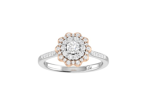 Petite Flower Brilliant-Cut Diamond Ring - RP4049